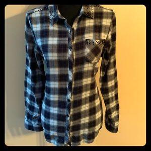 Flannel with rhinestone details